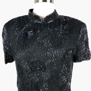 Vintage 1980s Papell Boutique Beaded Silk Top L